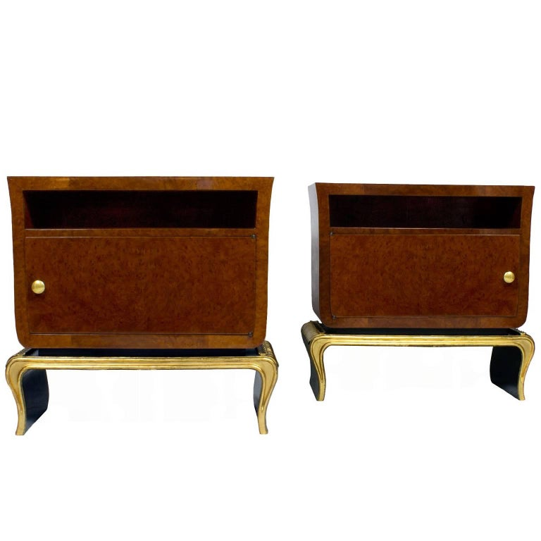 1940s Pair of Rounded Night Stands, Burr Thuja, Bird Eyes Maple, Walnut, Italy