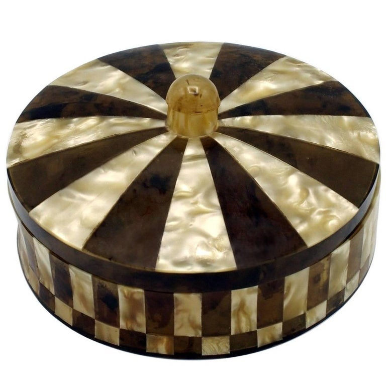 Round Decorative Boxes: Art Deco Round Lidded Box For Sale At 1stdibs