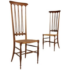 'Chiavarine' Chairs Stained Beech Wood Vintage Manufactured in Italy 1950s-1960