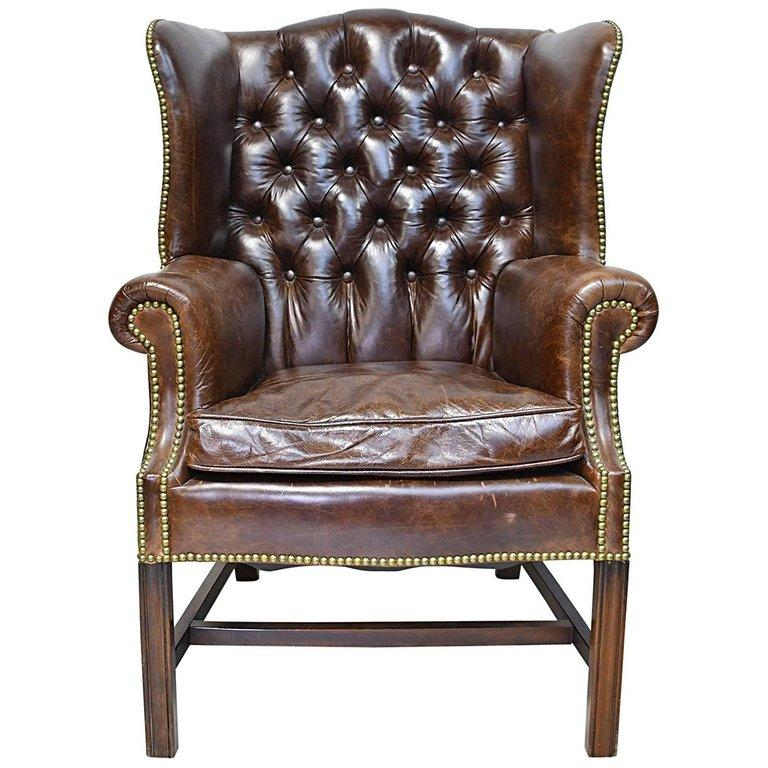 Vintage Chesterfield Wing Back Chair With Tufted Brown Leather For Sale
