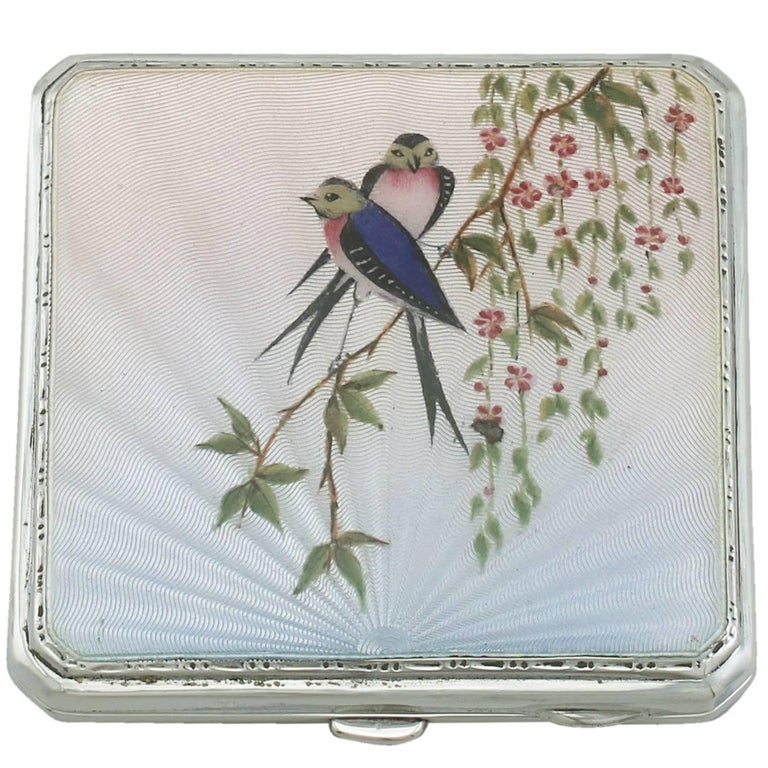1940s Sterling Silver and Enamel Compact