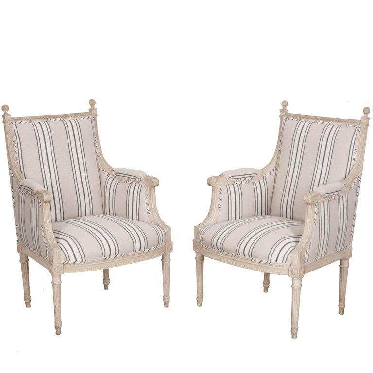 Pair of French 19th Century Painted Louis XVI Bergères