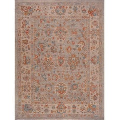 Turkish Oushak Recreation Grey with Beige and Blue