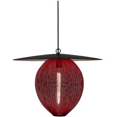 Large Mathieu Matégot 'Satellite' Pendant in Black and Red Metal