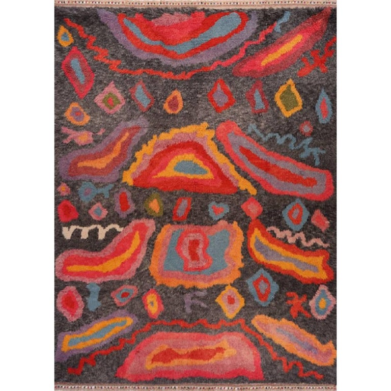 Turkish Rug Orange: Handwoven Modern Abstract Turkish Rug Angora Wool Black