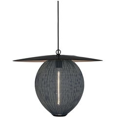 Large Mathieu Matégot 'Satellite' Pendant in Black and Grey Metal