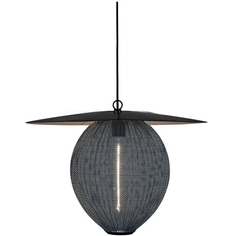 Large Mathieu Matégot 'Satellite' Pendant in Black and Grey Metal For Sale