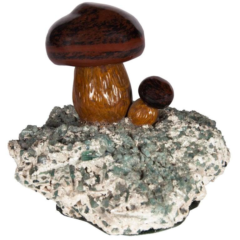 Faberge Style Russian Jasper Model of Mushrooms