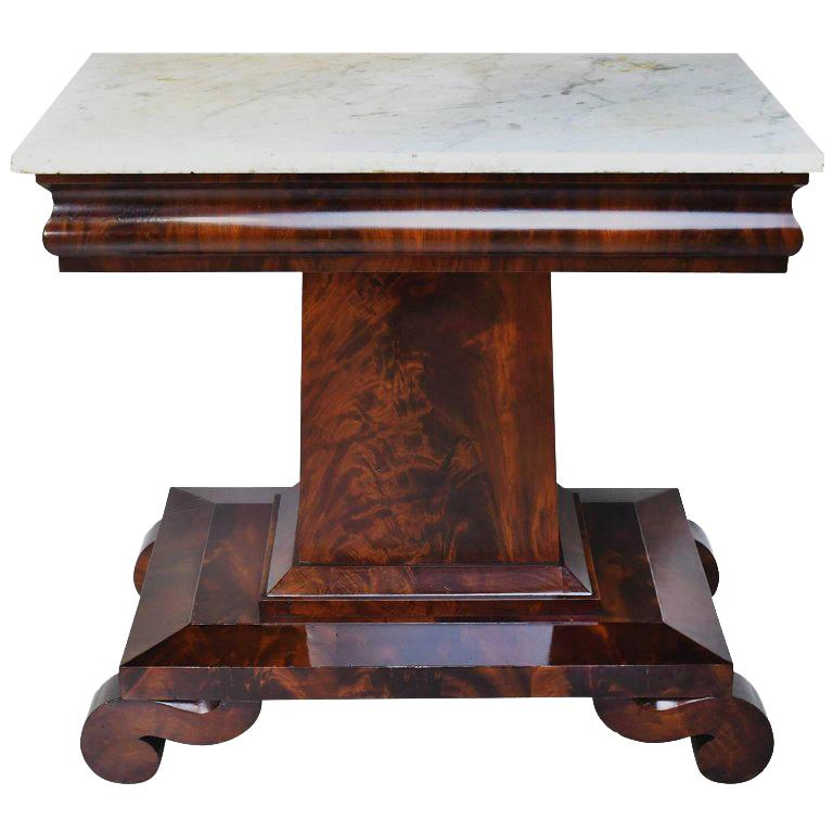 19th Century American Empire Console Table in Mahogany with Carrara Marble