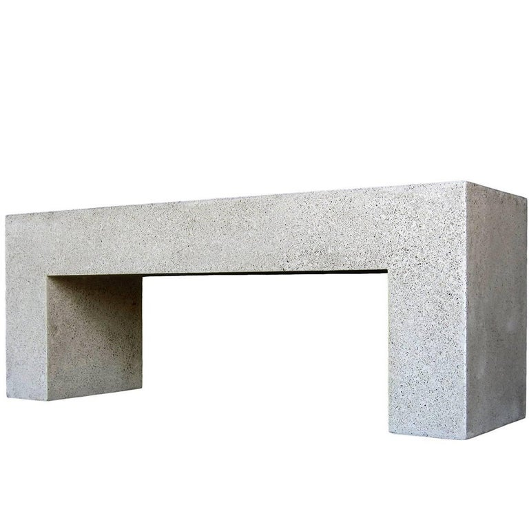 Cast Resin 'Aspen' Bench, Natural Concrete finish by Zachary A. Design For Sale