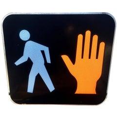 Rare Glass Pedestrian Sign