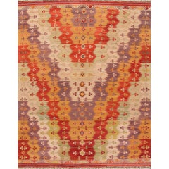 21st Century Multicolored Geometric Turkish Kilim Rug