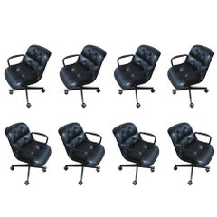 1 Vintage Knoll Black Leather Pollock Chairs