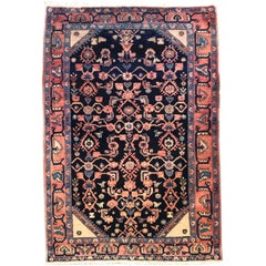 Persian Indigo Blue Handmade Tribal All over Hamadan Rug