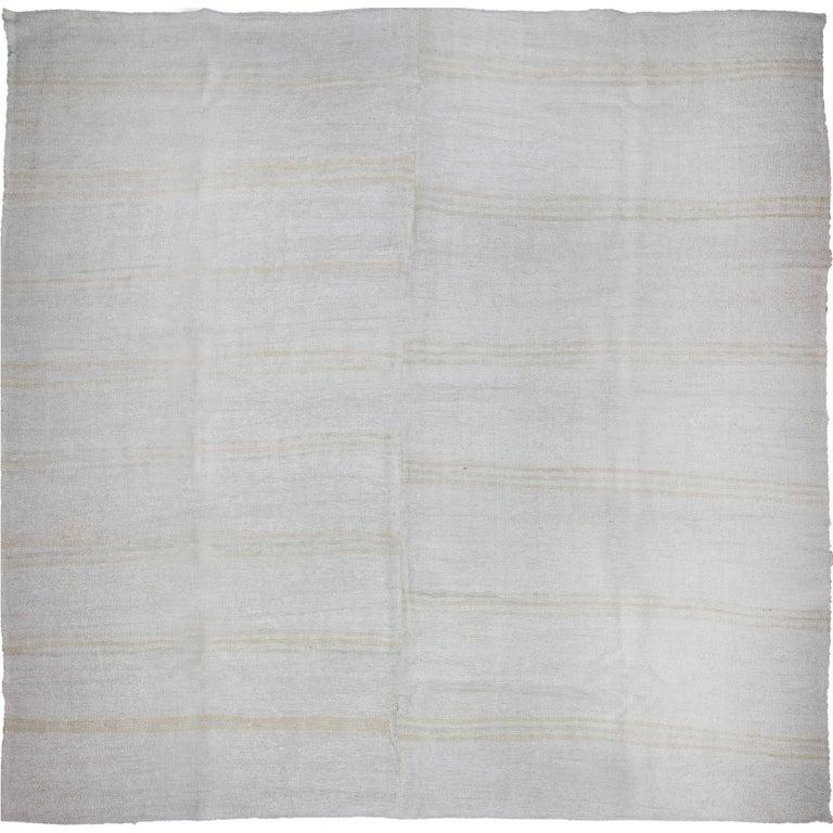 Square Vintage Turkish Flat-Weave Hemp Rug