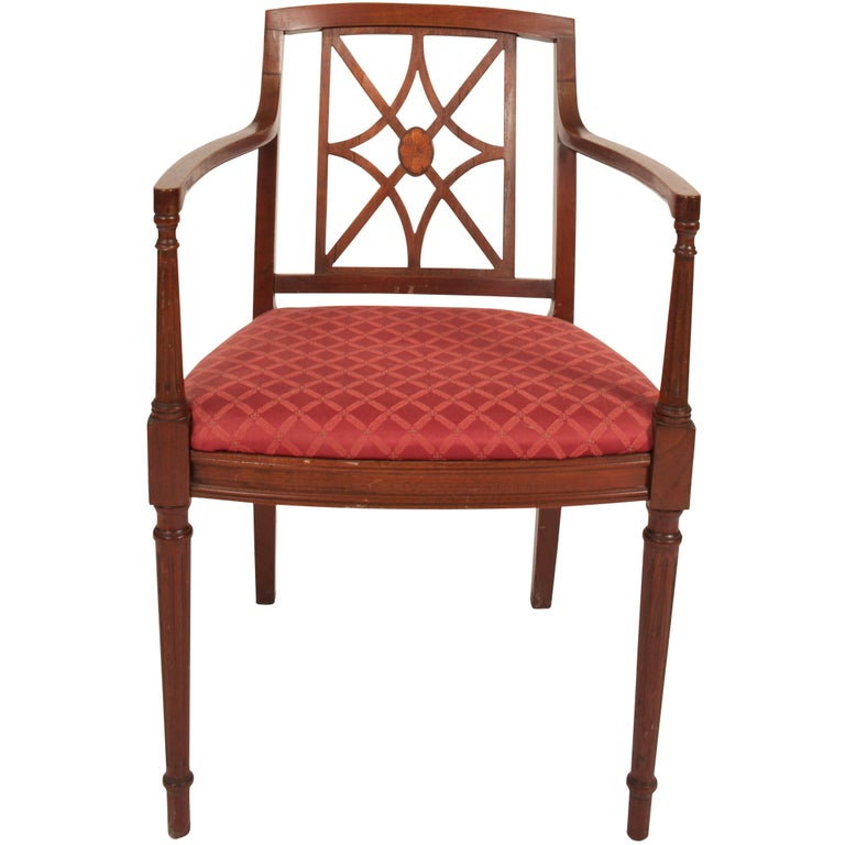 Sheraton Style Fretwork Armchair For Sale