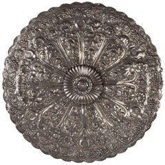 19th Century Turkish Ottoman Silver Repousse Wedding Mirror