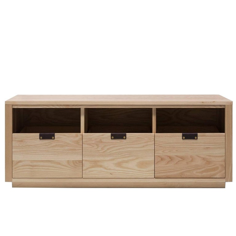 Dovetail Vinyl Record Storage Cabinet in Solid Ash with 3 Drawers For Sale