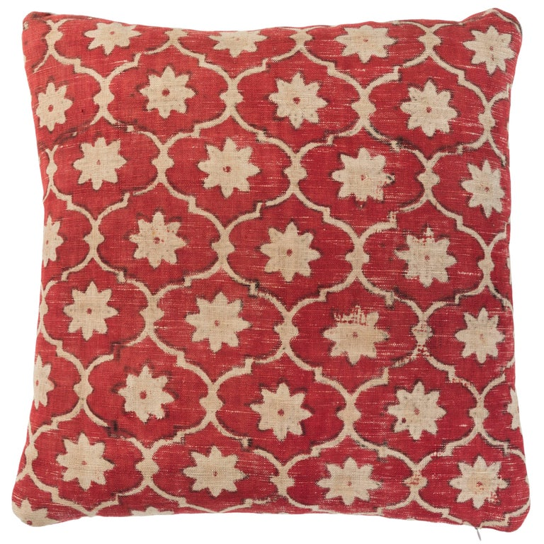 Indian Kalamkari Pillow For Sale