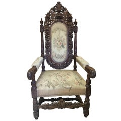 Very Ornately Carved French Throne Armchair