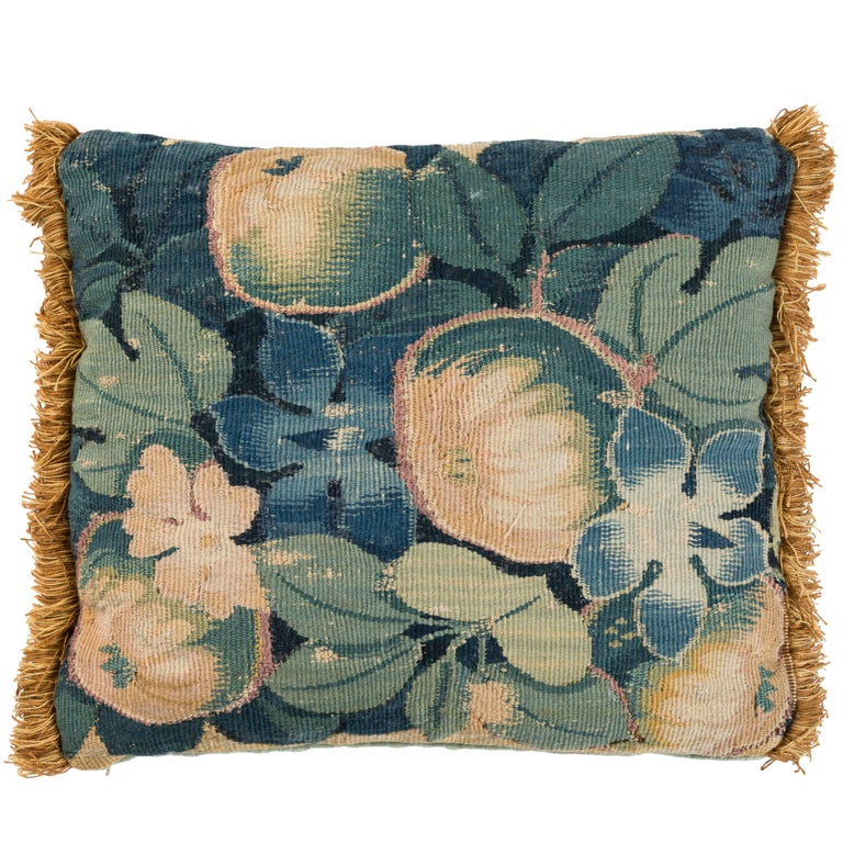 Antique Verdure Tapestry Pillow For Sale
