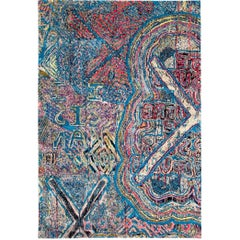 Contemporary Area Rug Multicolored Silk and Wool 6x9