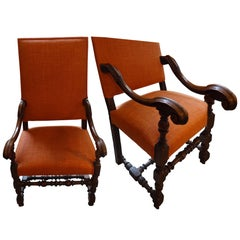 18th Century Pair of High Back Side Chairs, Italy