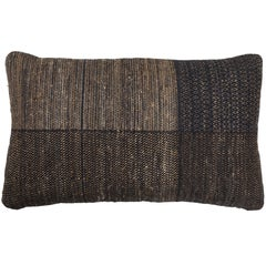 Indian Handwoven Pillow Charcoal and Tan