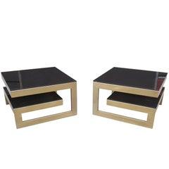 Gold 23-Karat G-Side Tables Belgo Chrome, Mid-Century Modern