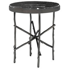 Black Branches Side Table with Black Marble Top