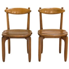 Set of Two Chairs by Guillerme et Chambron for Votre Maison, circa 1970, France