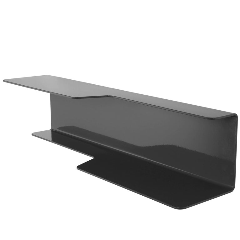 Wall-Mounted Tidal Shelf in Black Powder-Coated Aluminum by Jonathan Nesci For Sale