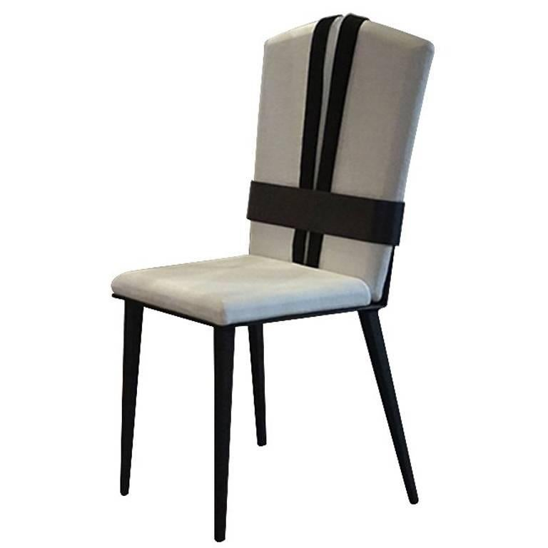 Kimono Dining Chair, Fresh Linen Cushions with Satin Black Tie Anthracite Metal