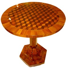 Biedermeier Side Table, Cherrywood with 3D Inlays, Germany circa 1820/25