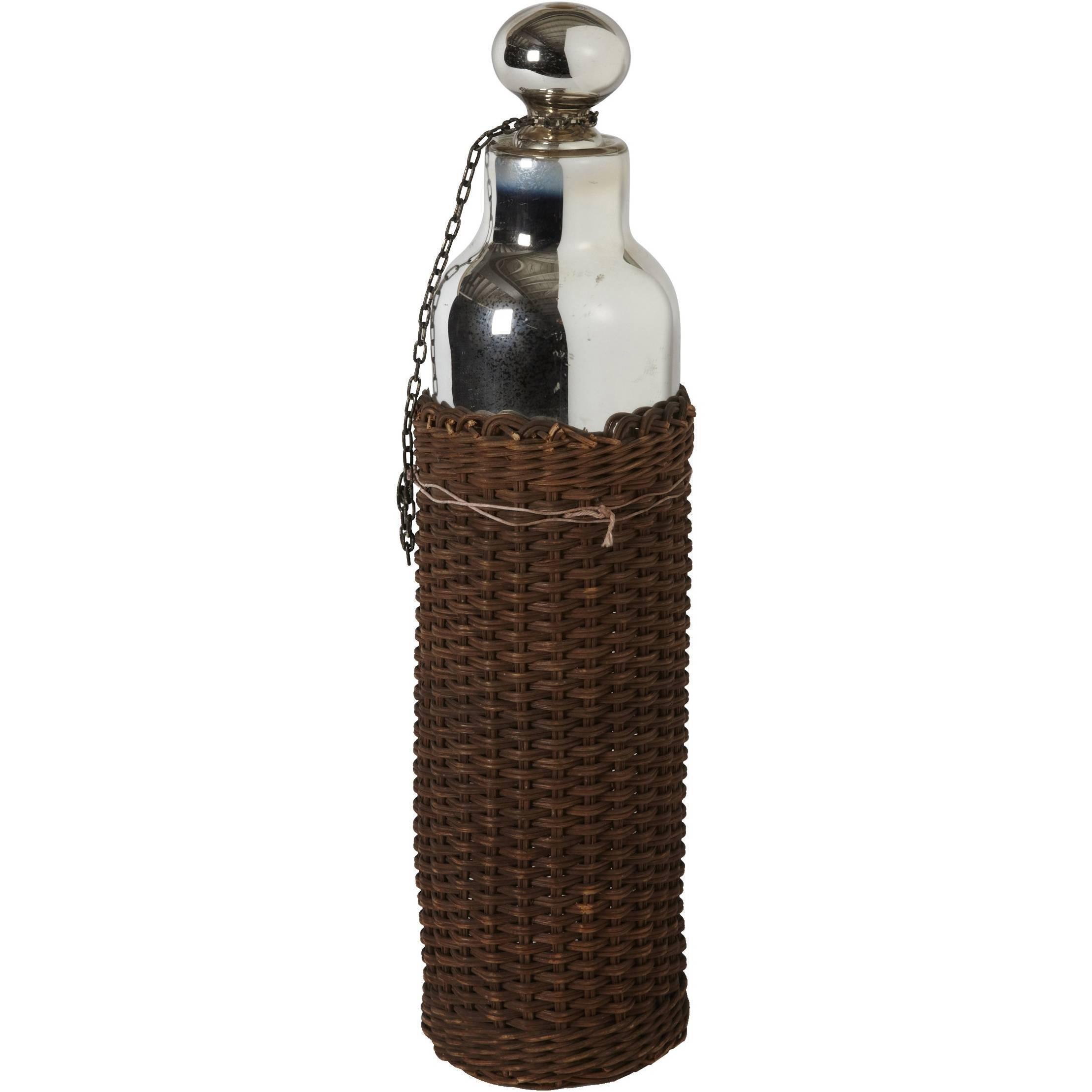 Vintage Wicker Mercury Glass Thermos Bottle