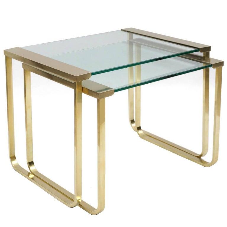 Italian Mid Century Brass and Glass Nesting Tables by Sergio Mazza for Cinova