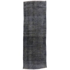 Distressed Grey Overdyed Vintage Persian Runner Modern Industrial Style