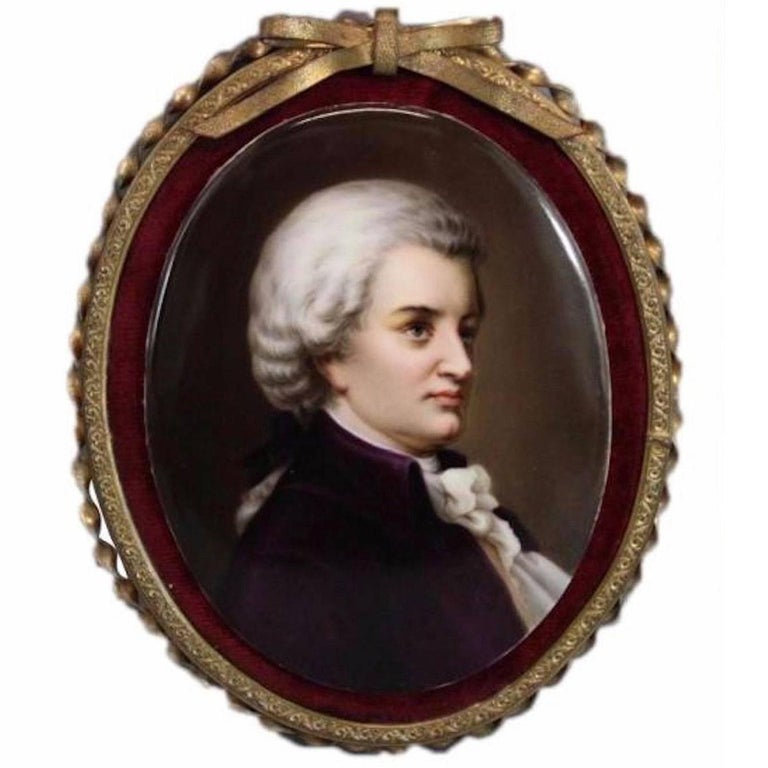 19th Century Antique Miniature Porcelain Portrait Painting of a Gentleman