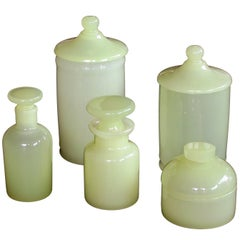 Luminous Set of Murano Cenedese Midcentury Vessels of Pale Chartreuse Glass