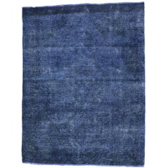 Distressed Vintage  Blue Persian Overdyed Rug with Luxe Mediterranean Style