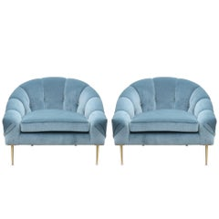 Pair of Modern Custom Blue Velvet Lounge Chairs with Brass Legs