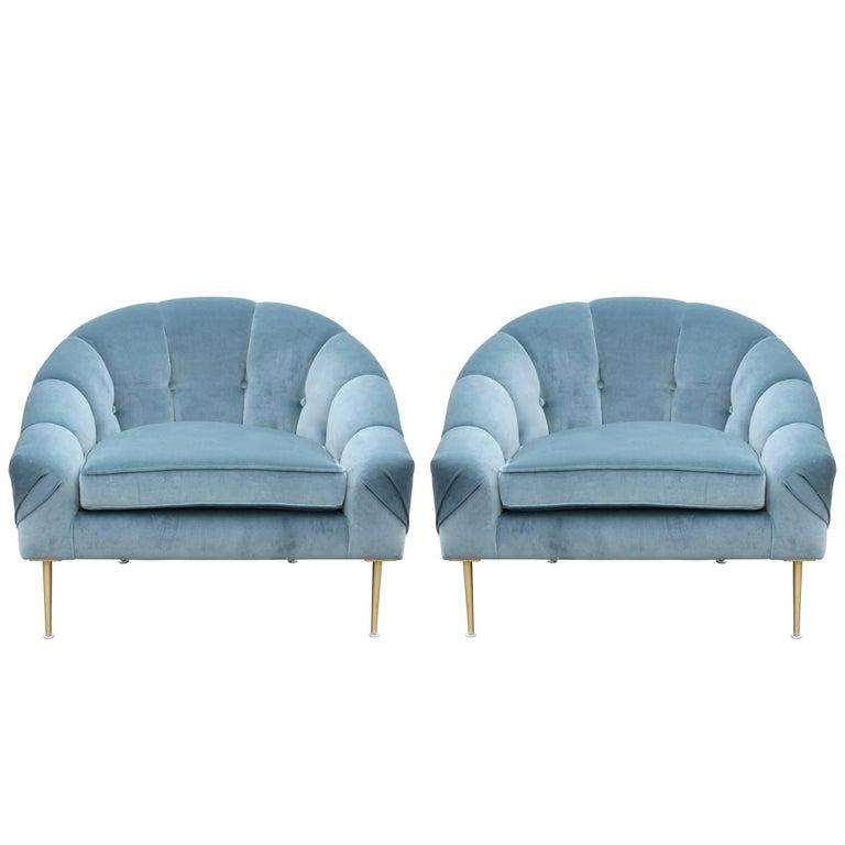 Pair of Modern Custom Blue Velvet Lounge Chairs with Brass Legs