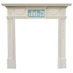 Early 20th Century Painted Pine Fire Surround with Wedgewood Style Plaque
