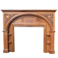 Edwardian Carved Oak Fire Surround, circa 1900