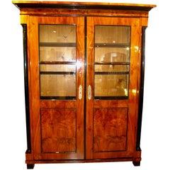 Biedermeier Big Bookcase, South Germany, circa 1820, Walnut Veneer
