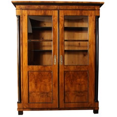 Early Biedermeier Bookcase, Walnut Veneer, South Germany circa 1820