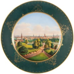 Russian 19th Century Porcelain Plate with Painted Landscape of Riga