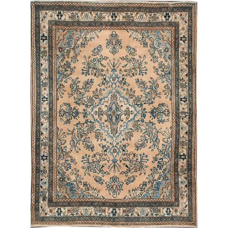 Vintage Cream, Teal Persian Tabriz Rug For Sale At 1stdibs