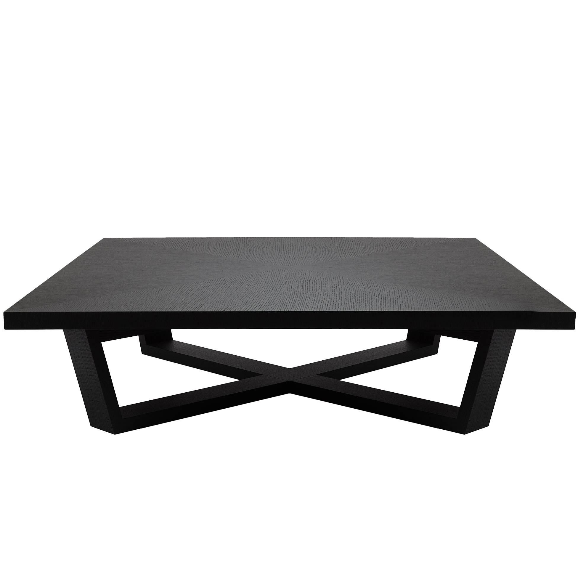 Charmant Brushed Black Oak Coffee Table For Sale