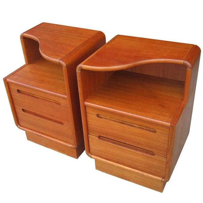 Pair of vintage danish style teak nightstands for sale at 1stdibs for Danish teak bedroom furniture